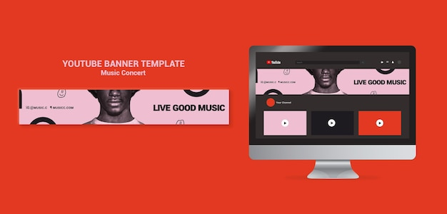 Modèle de bannière youtube de concert de musique