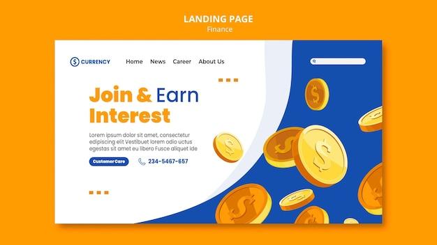 Modèle de banque en ligne de page de destination