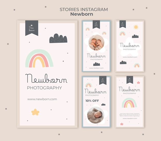 Modèle de bébé nouveau-né d'histoires instagram