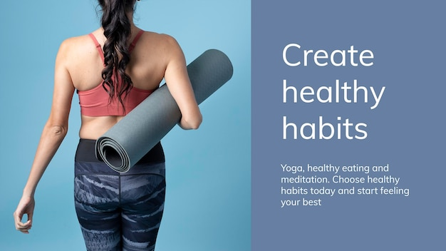 Modèle de bien-être d'exercice de yoga psd pour une présentation de mode de vie sain