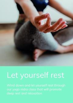 Modèle de bien-être de méditation psd pour un mode de vie sain pour une affiche publicitaire
