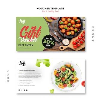 Modèle de bon de bio et de nourriture saine