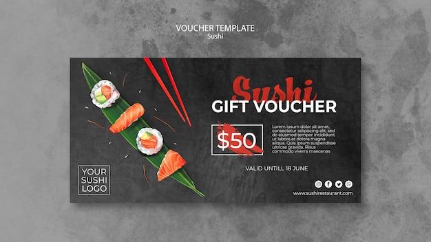 Modèle de bon avec jour de sushi