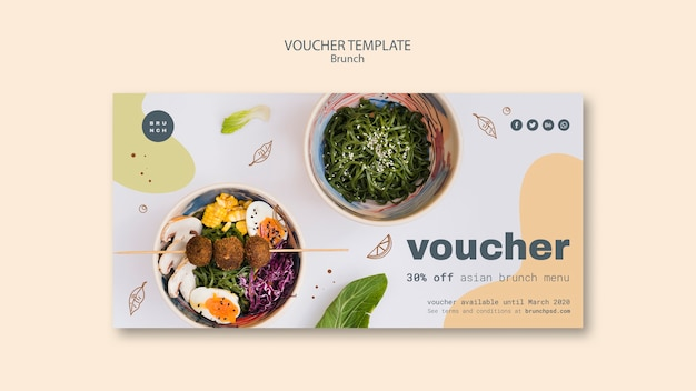 Modèle de bon pour le menu de brunch asiatique