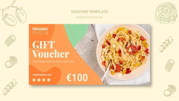 Modèle de bon de restaurant italien