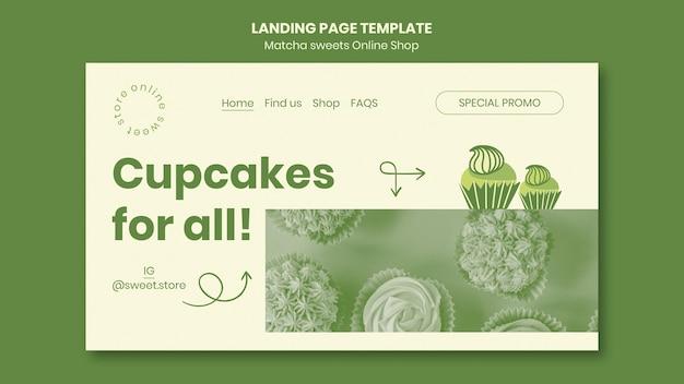 Modèle de bonbons au matcha de page de destination