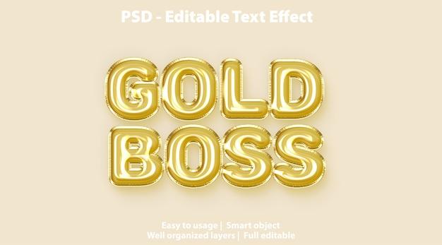 Modèle de boss en or avec effet de texte