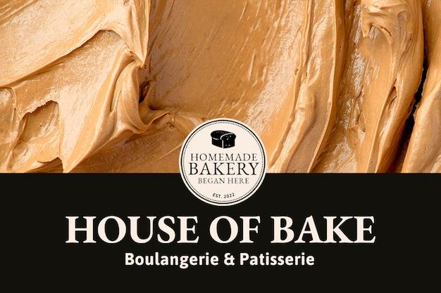 Modèle de boulangerie psd avec texture de glaçage marron pour bannière de blog