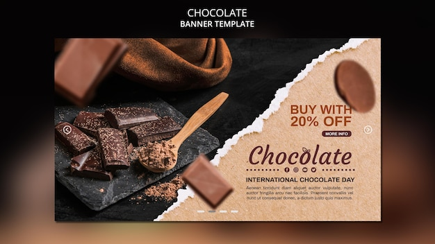 Modèle de boutique de chocolat bannière
