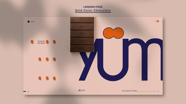 Modèle de boutique de chocolat de page de destination