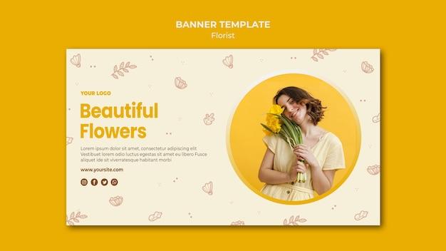 Modèle de boutique de fleuriste de bannière