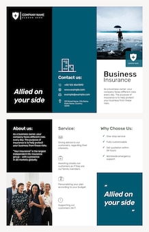 Modèle de brochure d'assurance entreprise psd avec texte modifiable