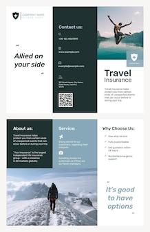 Modèle de brochure d'assurance voyage psd avec texte modifiable