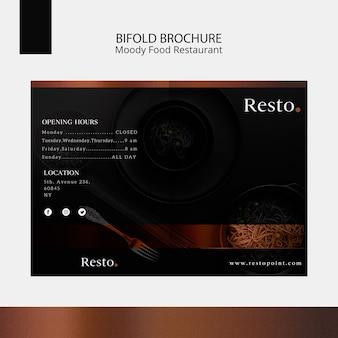 Modèle de brochure bifold de nourriture moody
