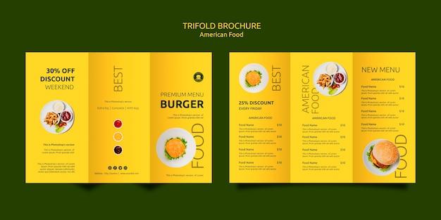 Modèle de brochure de cuisine américaine à trois volets