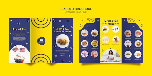 Modèle de brochure avec un design de cuisine américaine