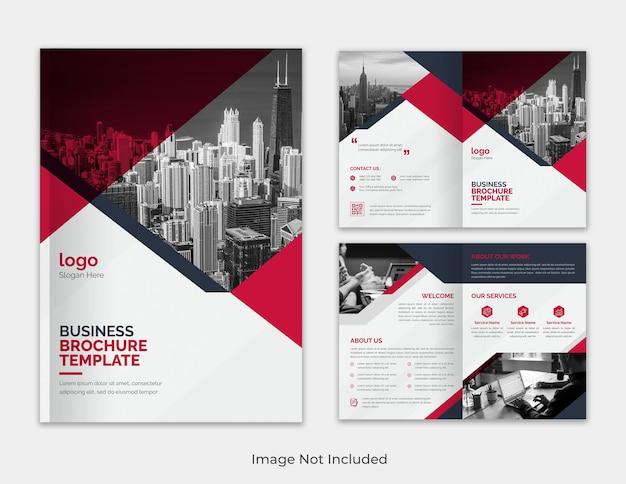 Modèle de brochure à deux volets pour rapport annuel minimaliste polyvalent rouge et noir