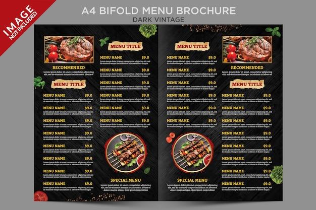 Modèle de brochure de menu à deux volets vintage foncé