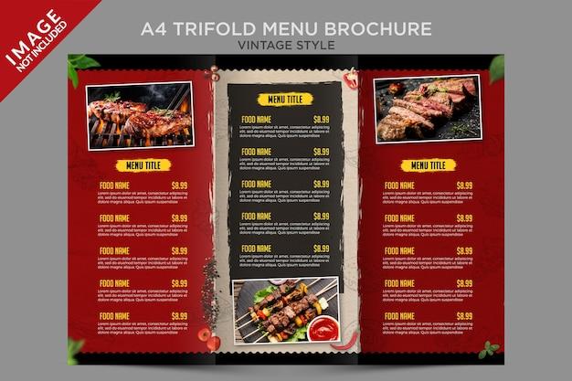 Modèle de brochure de menu à trois volets de style vintage