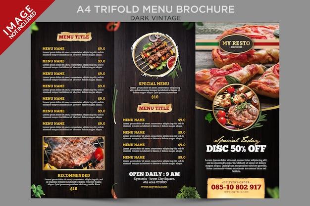 Modèle de brochure de menu à trois volets vintage sombre