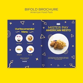 Modèle de brochure avec de la nourriture américaine