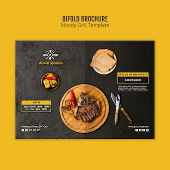 Modèle de brochure pliable moody grill