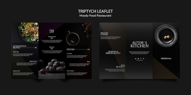 Modèle de brochure triptyque moody food restaurant