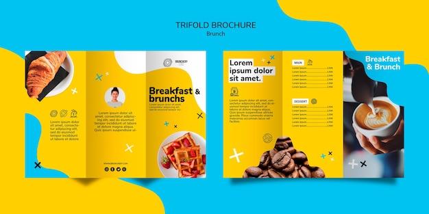 Modèle de brochure à trois volets de brunch