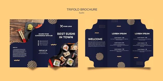Modèle de brochure à trois volets de concept de sushi
