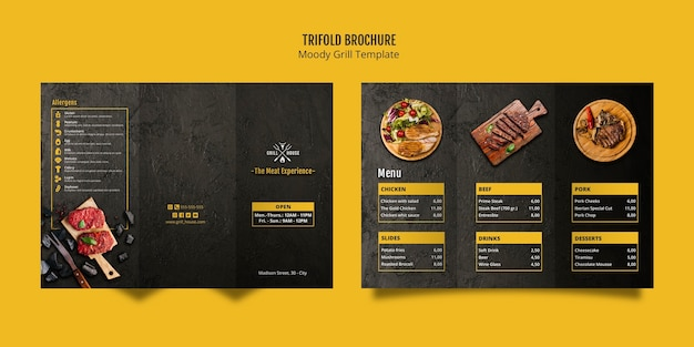 Modèle de brochure à trois volets moody grill