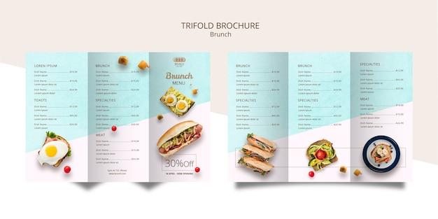 Modèle de brochure à trois volets pour le brunch