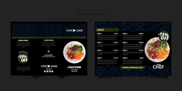 Modèle de brochure à trois volets pour le restaurant moody food