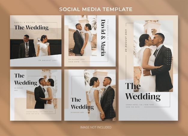 Modèle de bundle de pack de médias sociaux de mariage