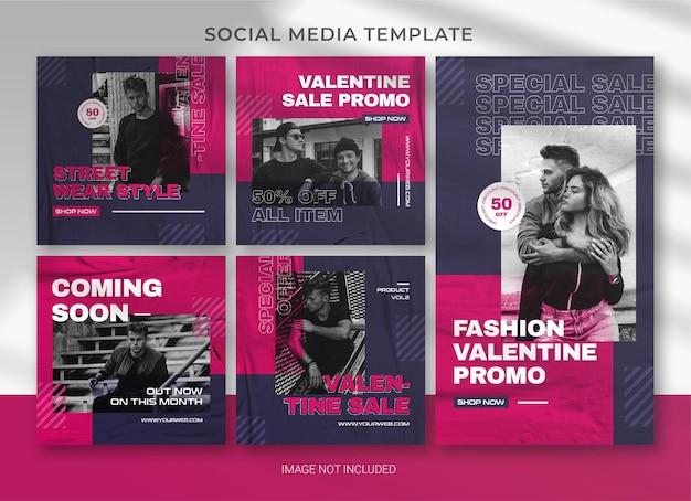 Modèle de bundle de pack de médias sociaux valentine