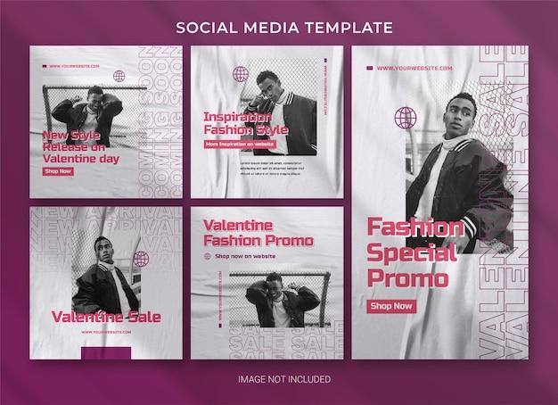 Modèle De Bundle De Pack De Médias Sociaux Valentine PSD Premium