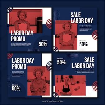 Modèle de bundle de post instagram de la fête du travail des états-unis psd premium
