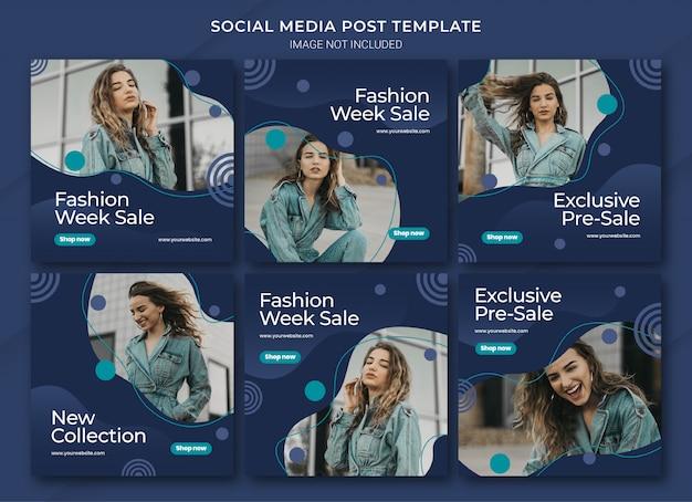 Modèle de bundle de post instagram de mode shopping en ligne