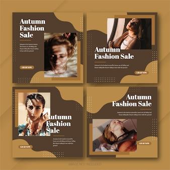 Modèle de bundle de post instagram de vente d'automne psd premium