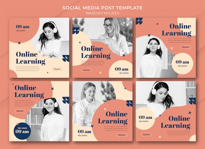 Modèle de bundle de publication instagram d'apprentissage en ligne