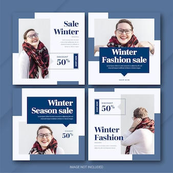 Modèle de bundle de publication instagram fashion winter sale