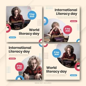 Modèle de bundle de publication instagram pour la journée internationale de l'alphabétisation psd premium