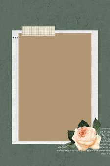 Modèle de cadre photo collage blanc sur fond vert vecteur