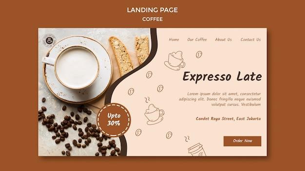 Modèle de café de page de destination
