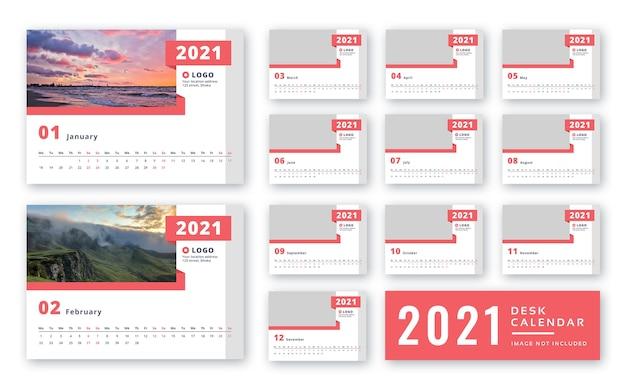 Modèle de calendrier de bureau 2021 prêt à imprimer