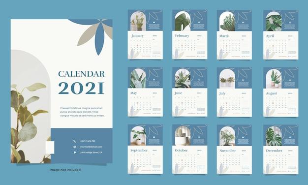 Modèle de calendrier de mur végétal