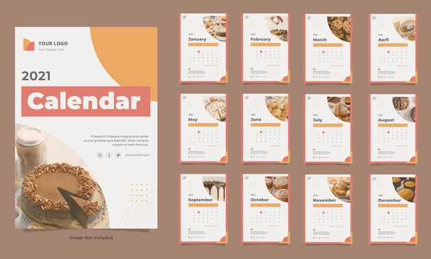 Modèle de calendrier mural alimentaire