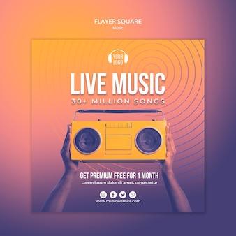 Modèle carré de flyer de concept de musique
