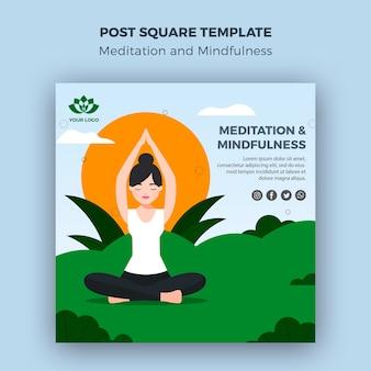 Modèle carré de poteau de méditation