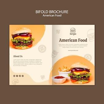 Modèle de carte de brochure de cuisine américaine