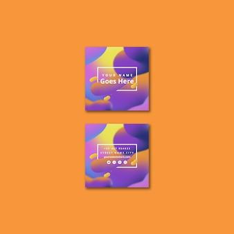 Modèle de carte carrée moderne avec fond fluide